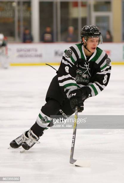 Harrison Roy of the Cedar Rapids RoughRiders skates with the puck during the game against the Sioux Falls Stampede on Day 2 of the USHL Fall Classic...