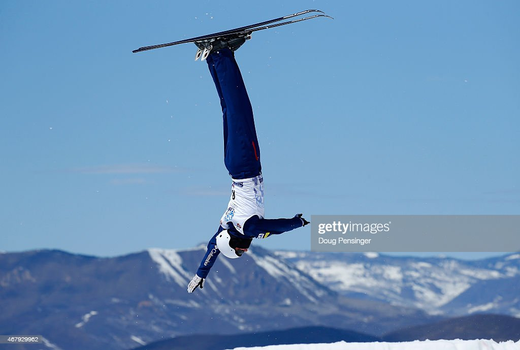 Harrison Smith jumps to second place in the men's aerials at the 2015 US Freestyle Ski National Championships at Steamboat Ski Resort on March 28...