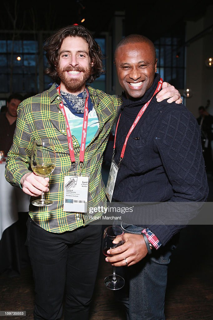 Harrison Thompson (R) and guest attend the Time Warner Reception at Riverhorse Cafe during the 2013 Sundance Film Festival on January 19, 2013 in Park City, Utah.