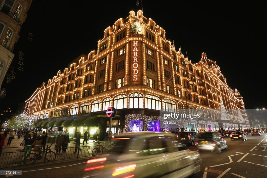 Harrods department store in Knightsbridge on November 29, 2012 in London, England. Many prominent retailers in the capital have produced elaborate festive window displays to entice Christmas shoppers with less than one calendar month remaining before Christmas Day.