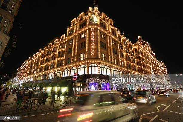 Harrods department store in Knightsbridge on November 29 2012 in London England Many prominent retailers in the capital have produced elaborate...