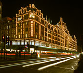 Harrods store at night