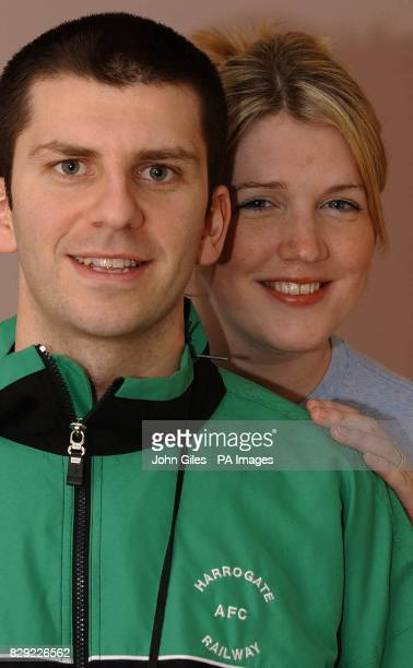 Harrogate Railway AFC player James Gore with his wife Kate who is expecting their first baby at the same time as James plays Bristol City in the FA...