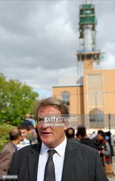 Harrow MP Tony McNaulty talks to young Muslims on a day when Harrow was braced for protests outside Harrow Central Mosque on September 11 2009 in...