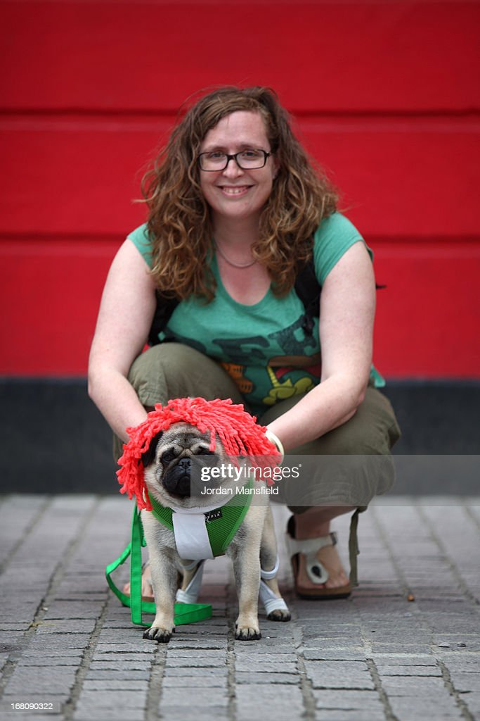 Harry, a Pug is dressed up as Leeloo from the film The Fifth Element with owner Clare Renton on May 5, 2013 in London, England. Enthusiasts gathered at the Picture House in Stratford to parade their dogs dressed up as famous Sci-Fi characters as part a London-wide event called Sci-Fi London.