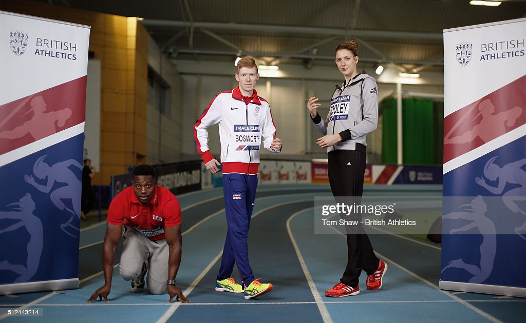 Harry Aikines Aryeetey, Tom Bosworth and Isoble Pooley pose for a picture during the preview to the British Indoor Championships at English Institute of Sport on February 26, 2016 in Sheffield, England.
