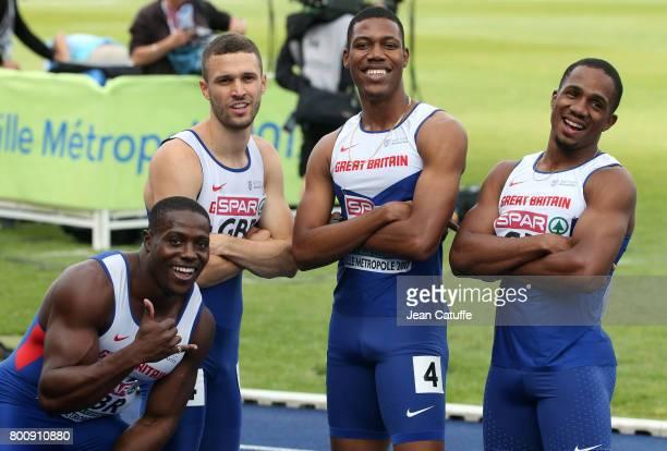 Harry AikinesAryeetey Danny Talbot Zharnel Hughes Chijindu Ujah of Great Britain celebrate winning the 4x100m Relay on day 2 of the 2017 European...