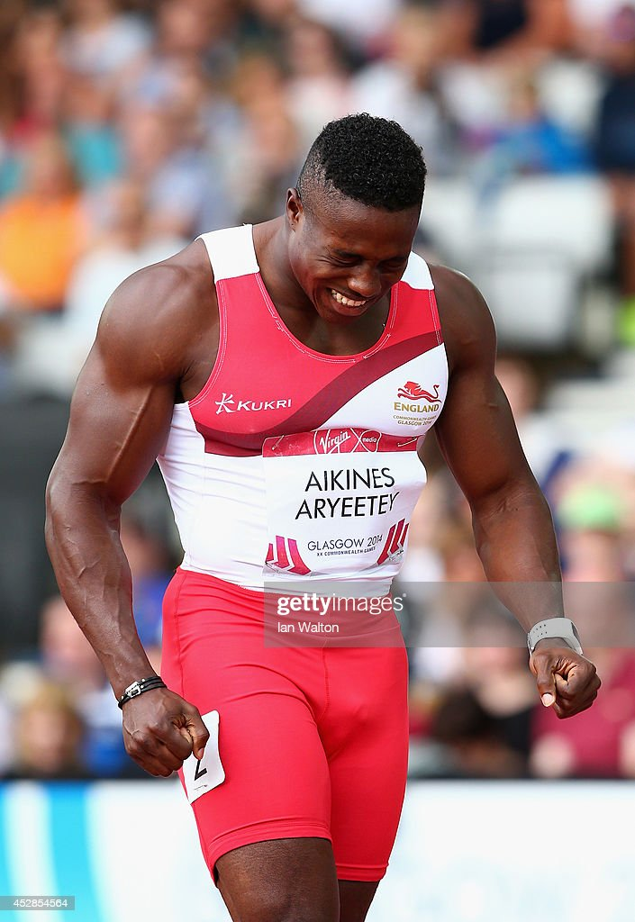 <a gi-track='captionPersonalityLinkClicked' href=/galleries/search?phrase=Harry+Aikines-Aryeetey&family=editorial&specificpeople=247216 ng-click='$event.stopPropagation()'>Harry Aikines-Aryeetey</a> of England reacts after the Men's 100 metres semi-final at Hampden Park during day five of the Glasgow 2014 Commonwealth Games on July 28, 2014 in Glasgow, United Kingdom.