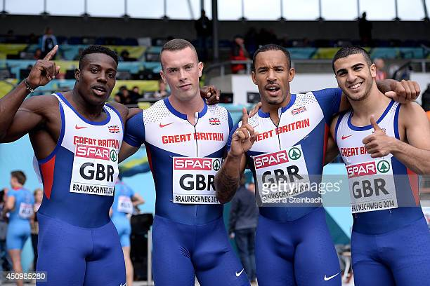 Harry AikinesAryeetey Richard Kilty James Ellington and Adam Gemili of Great Britain pose after winning the 4x100m Relay Men during first day of the...
