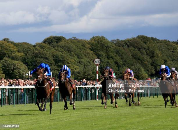 Harry Angel ridden by Adam Kirby leads the field home and wins the 32Red Sprint Cup Stakes during 32Red Sprint Cup Day at Haydock Park Racecourse