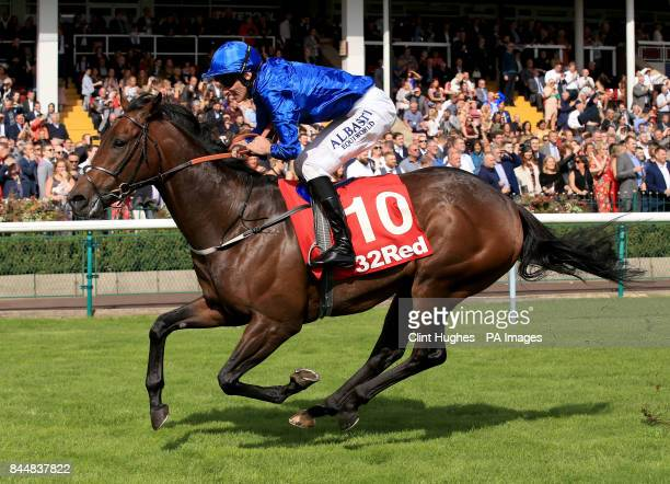 Harry Angel ridden by Adam Kirby wins the 32Red Sprint Cup Stakes during 32Red Sprint Cup Day at Haydock Park Racecourse