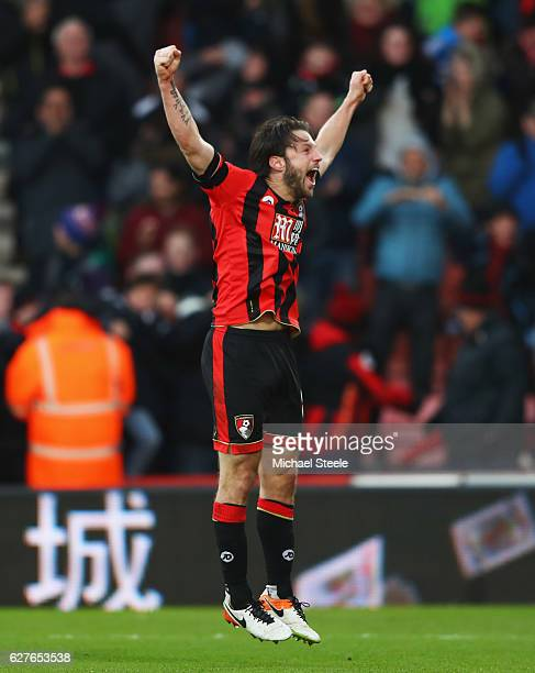 Harry Arter of AFC Bournemouth celebrates as Nathan Ake of AFC Bournemouth scores their fourth goal during the Premier League match between AFC...