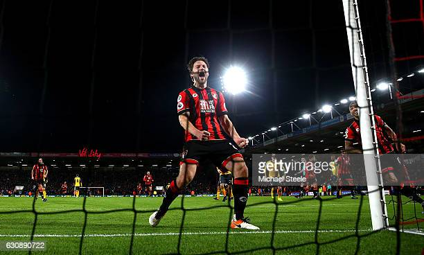 Harry Arter of AFC Bournemouth celebrates his side's second goal during the Premier League match between AFC Bournemouth and Arsenal at Vitality...
