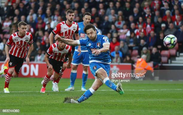 Harry Arter of AFC Bournemouth misses a penalty during the Premier League match between Southampton and AFC Bournemouth at St Mary's Stadium on April...