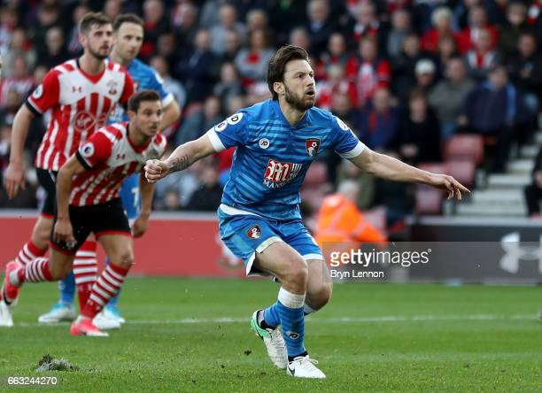 Harry Arter of AFC Bournemouth reacts as he misses a penalty during the Premier League match between Southampton and AFC Bournemouth at St Mary's...