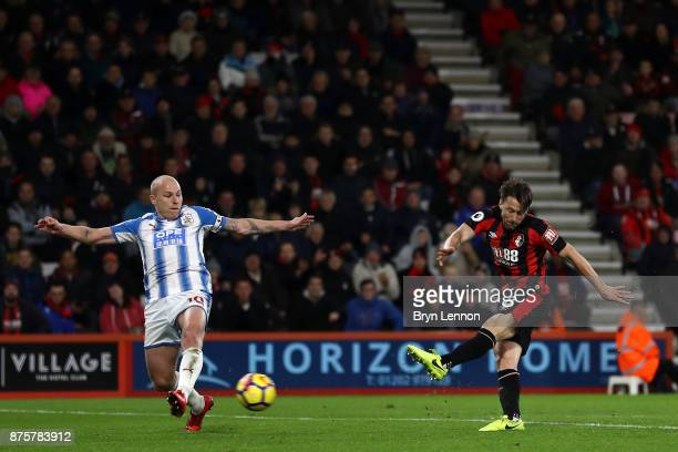 Harry Arter of AFC Bournemouth scores his side's third goal during the Premier League match between AFC Bournemouth and Huddersfield Town at Vitality...