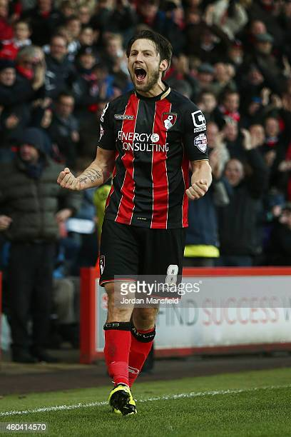 Harry Arter of Bournemouth celebrates after scoring to make it 20 during the Sky Bet Championship match between AFC Bournemouth and Cardiff City at...