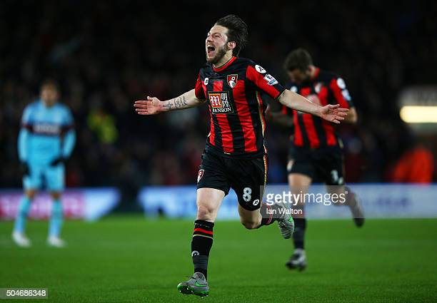 Harry Arter of Bournemouth celebrates as he scores their first goal during the Barclays Premier League match between AFC Bournemouth and West Ham...