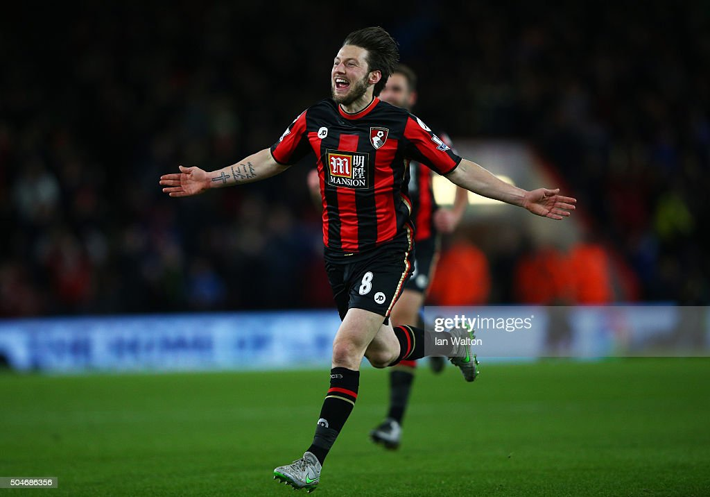 Harry Arter of Bournemouth celebrates as he scores their first goal during the Barclays Premier League match between A.F.C. Bournemouth and West Ham United at Vitality Stadium on January 12, 2016 in Bournemouth, England.