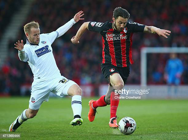 Harry Arter of Bournemouth evades Barry Bannan of Bolton Wanderers during the Sky Bet Championship match between AFC Bournemouth and Bolton Wanderers...