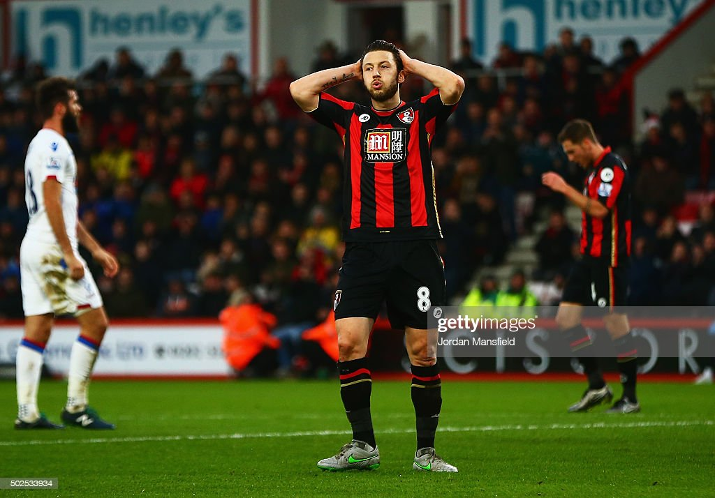 Harry Arter of Bournemouth reacts during the Barclays Premier League match between A.F.C. Bournemouth and Crystal Palace at Vitality Stadium on December 26, 2015 in Bournemouth, England.