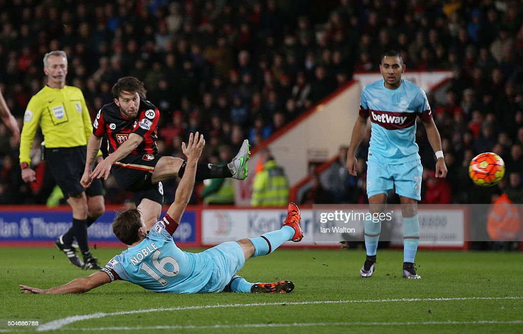 Harry Arter of Bournemouth shoots past Mark Noble of West Ham United as he scores their first goal during the Barclays Premier League match between A.F.C. Bournemouth and West Ham United at Vitality Stadium on January 12, 2016 in Bournemouth, England.