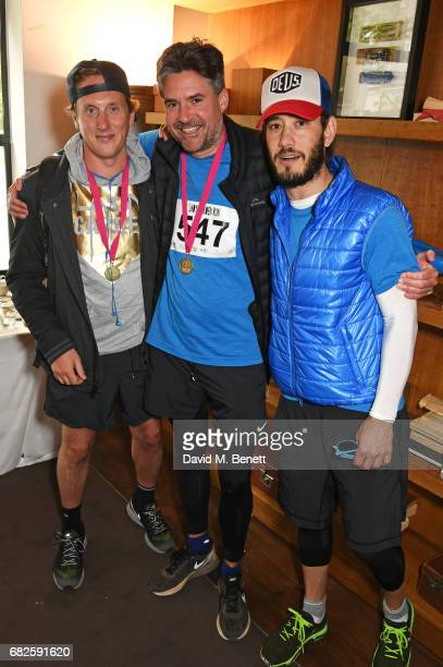 Harry Beecher Edward Taylor and Ryan Prince attend the Lady Garden brunch following the 5K 10K Fun Run in aid of Silent No More Gynaecological Cancer...