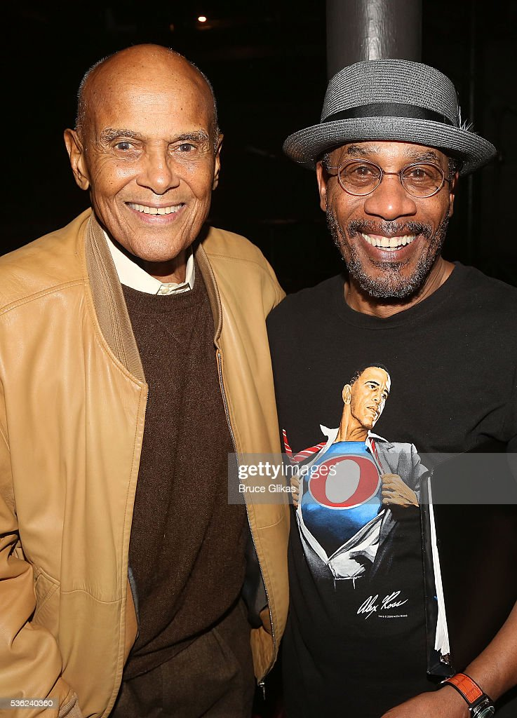 Harry Belafonte and Joe Morton pose backstage at the hit play 'Turn Me Loose' at The Westside Theatre on May 31, 2016 in New York City.