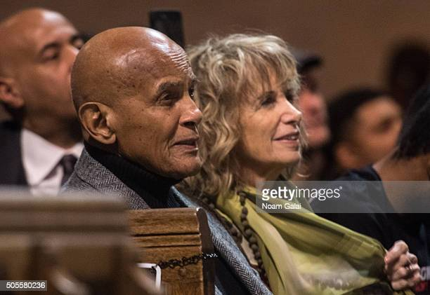 Harry Belafonte and Pamela Frank attend the 2016 MLK Now at Riverside Church on January 18 2016 in New York City