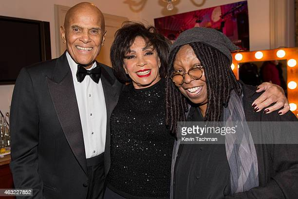 Harry Belafonte Shirley Bassey and Whoopi Goldberg attend the 2015 amfAR New York Gala at Cipriani Wall Street on February 11 2015 in New York City