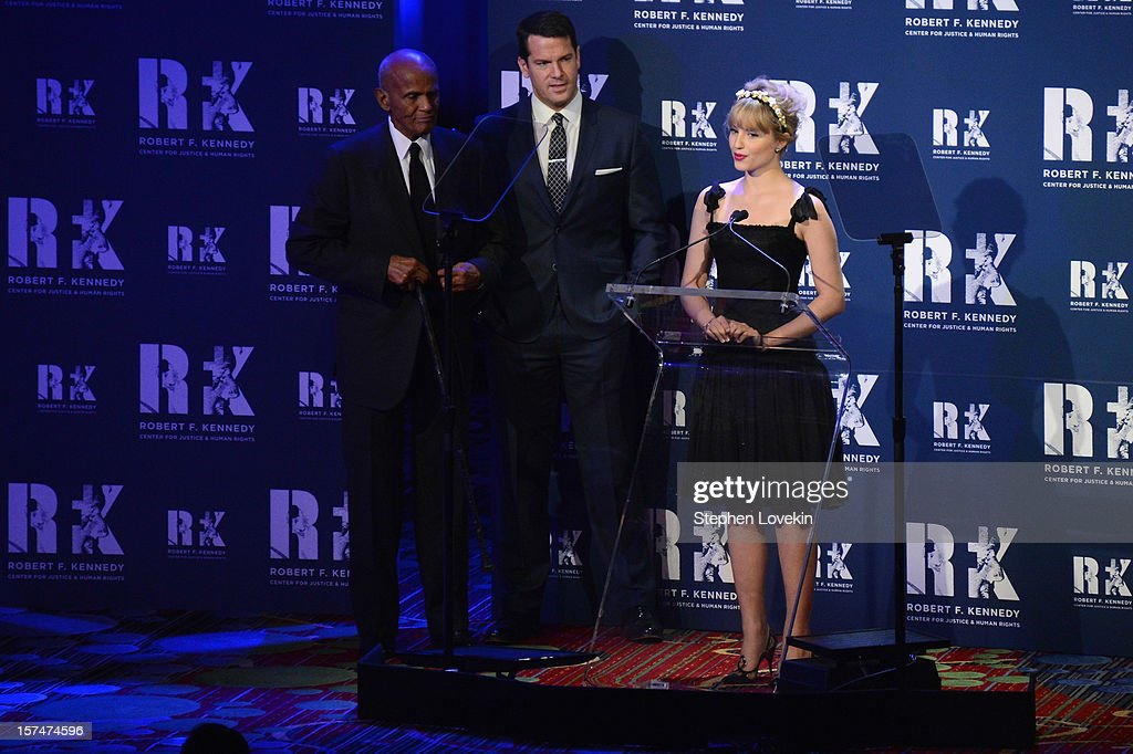Harry Belafonte, Thomas Roberts, and Dianna Agron speak onstage at the 2012 Ripple Of Hope Gala at The New York Marriott Marquis on December 3, 2012 in New York City.