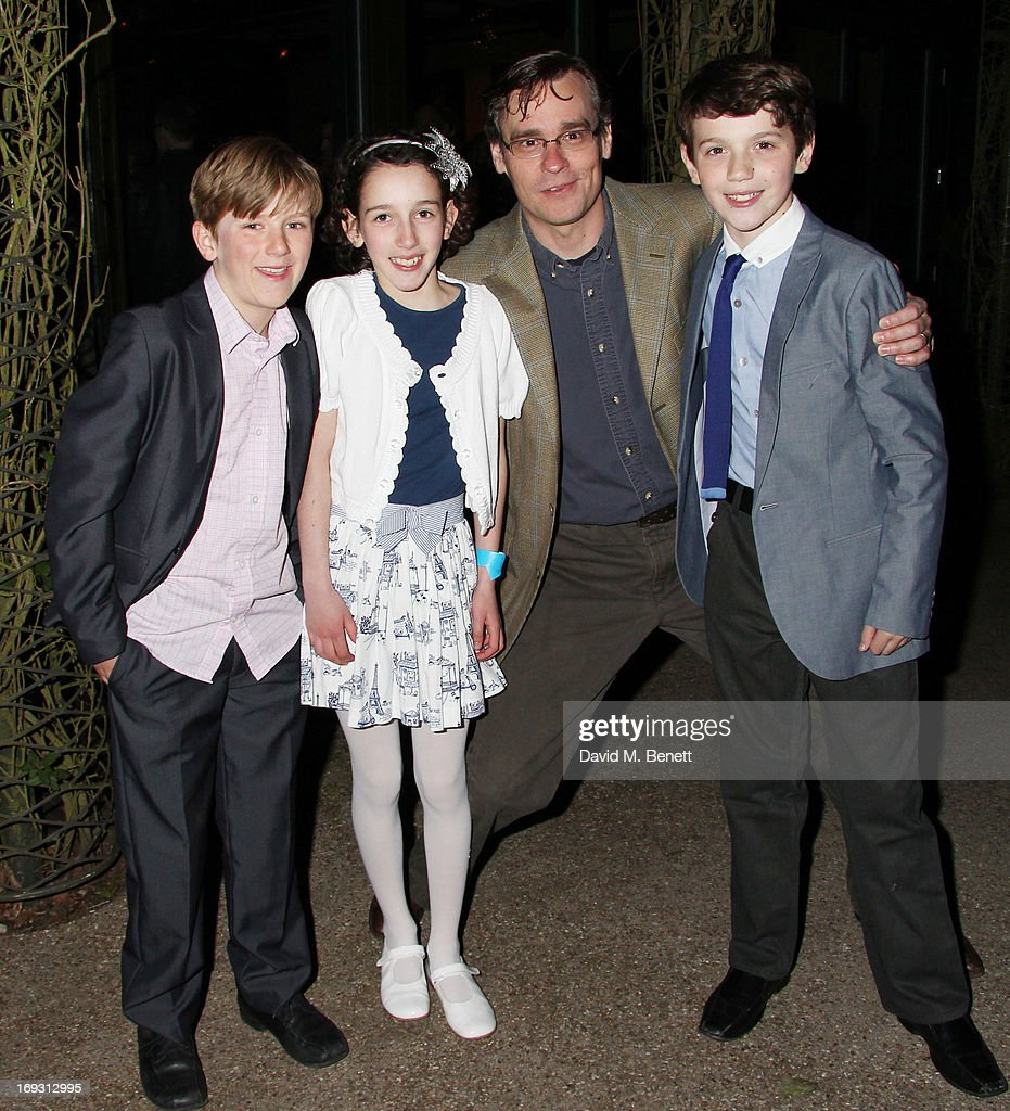 Harry Bennett, Izzy Lee, Robert Sean Leonard and Adam Scotland pose backstage during a performance of 'To Kill A Mockingbird' at Regents Park Open Air Theatre on May 22, 2013 in London, England.