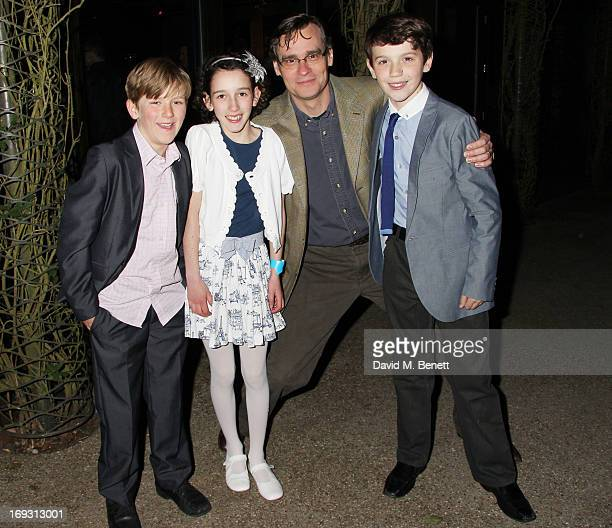 Harry Bennett Izzy Lee Robert Sean Leonard and Adam Scotland pose backstage during a performance of 'To Kill A Mockingbird' at Regents Park Open Air...