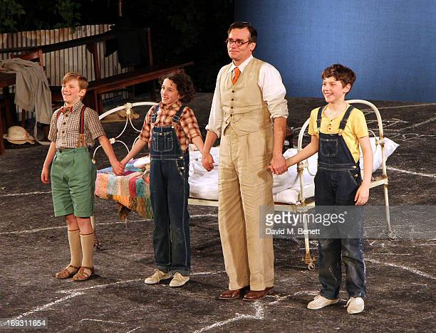 Harry Bennett Izzy Lee Robert Sean Leonard and Adam Scotland take a curtain call after performing in 'To Kill A Mockingbird' at Regents Park Open Air...