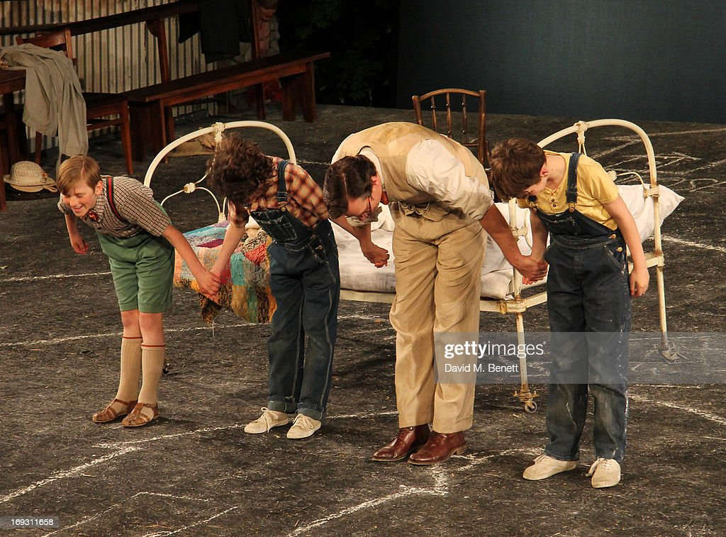 Harry Bennett, Izzy Lee, <a gi-track='captionPersonalityLinkClicked' href=/galleries/search?phrase=Robert+Sean+Leonard&family=editorial&specificpeople=683448 ng-click='$event.stopPropagation()'>Robert Sean Leonard</a> and Adam Scotland take a curtain call after performing in 'To Kill A Mockingbird' at Regents Park Open Air Theatre on May 22, 2013 in London, England.