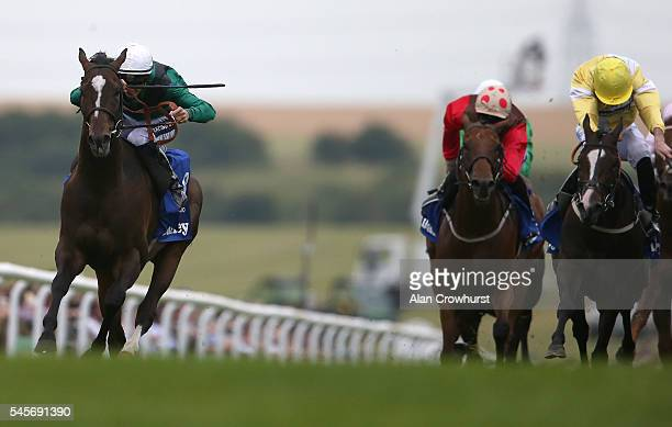 Harry Bentley riding Limato drift badly right before winning The Darley July Cup at Newmarket Racecourse on July 9 2016 in Newmarket England