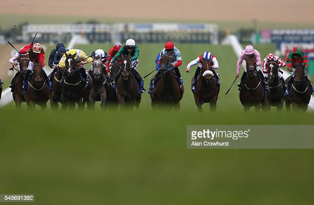 Harry Bentley riding Limato win The Darley July Cup at Newmarket Racecourse on July 9 2016 in Newmarket England