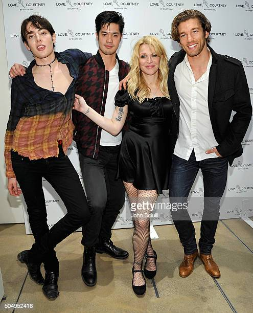 Harry Brandt Ross Butler Courtney Love and James Norley attend Love Courtney by Nasty Gal launch party at Nasty Gal on January 13 2016 in Los Angeles...