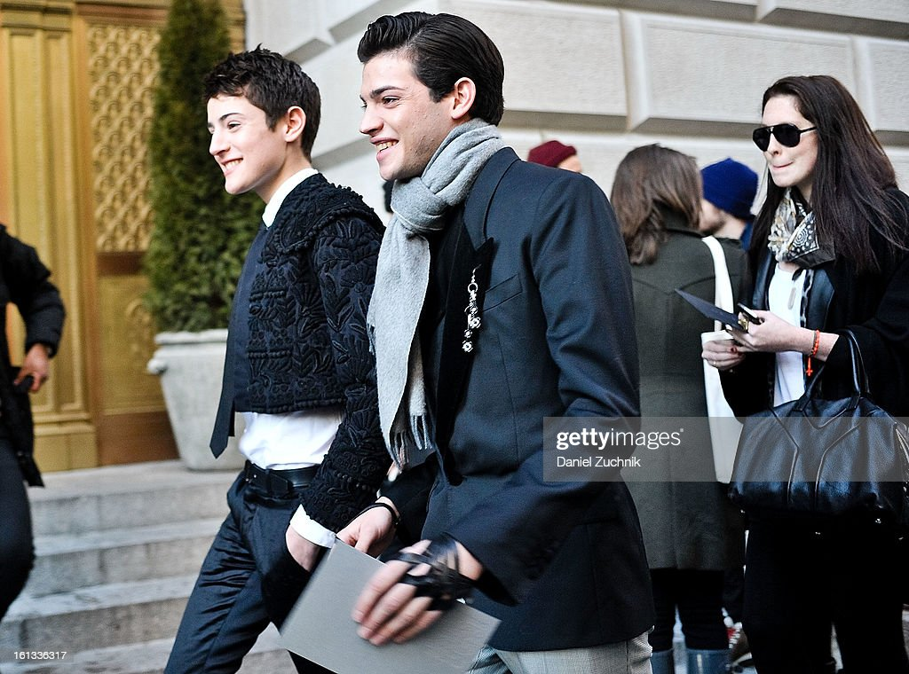 Harry Brant and Peter Brant, Jr. arrive to the Alexander Wang show on February 9, 2013 in New York City.