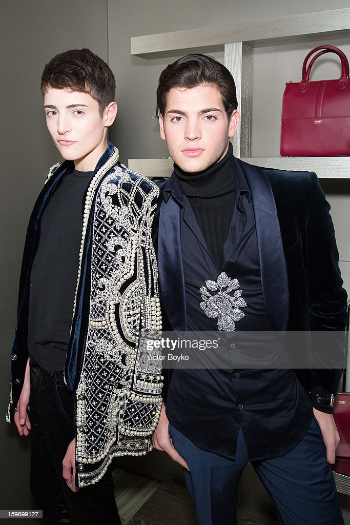 <a gi-track='captionPersonalityLinkClicked' href=/galleries/search?phrase=Peter+Brant&family=editorial&specificpeople=2469568 ng-click='$event.stopPropagation()'>Peter Brant</a> and Harry Brant attends the Giorgio Armani Paris avenue Montaigne boutique opening on January 22, 2013 in Paris, France.