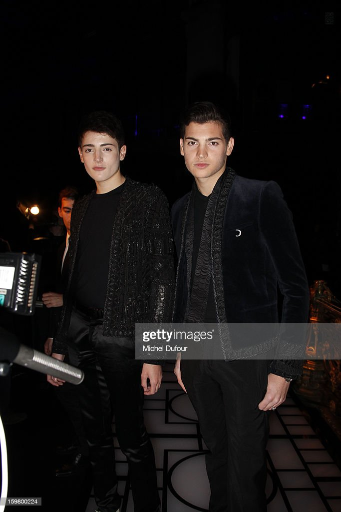 Harry Brant and Peter Brant Junior attend the Versace Spring/Summer 2013 Haute-Couture show as part of Paris Fashion Week at Le Centorial on January 20, 2013 in Paris, France.