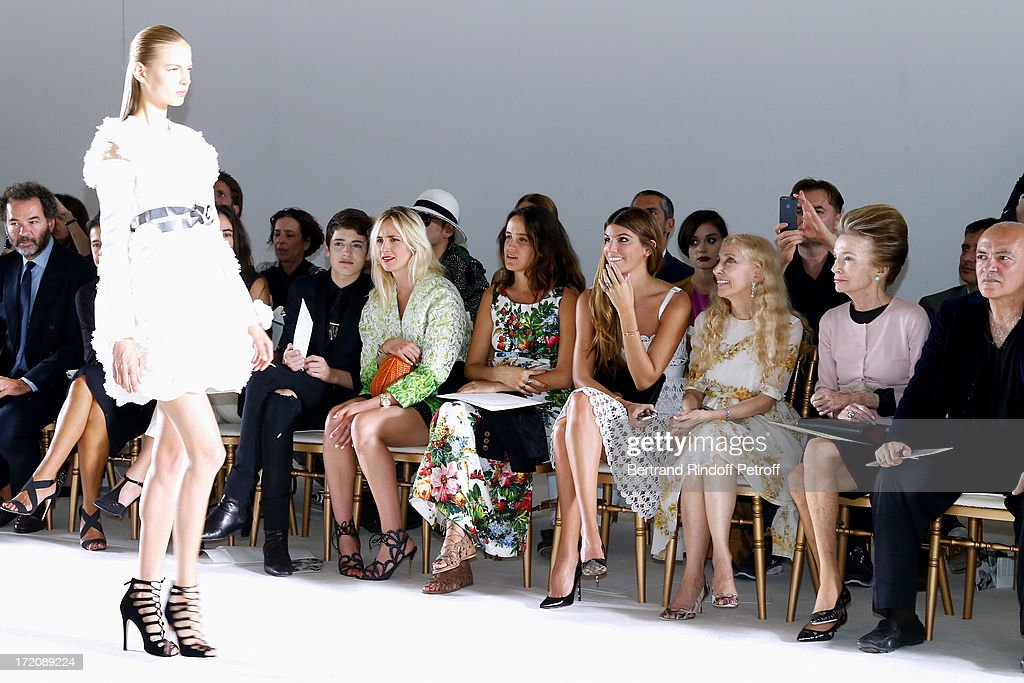 Harry Brant, Elisabeth von Thurn und Taxis, Coco Brandolini d'Adda, her sister Bianca Brandolini d'Adda, Franca Sozzani and Princess <a gi-track='captionPersonalityLinkClicked' href=/galleries/search?phrase=Lee+Radziwill&family=editorial&specificpeople=218138 ng-click='$event.stopPropagation()'>Lee Radziwill</a> attend the Giambattista Valli show as part of Paris Fashion Week Haute-Couture Fall/Winter 2013-2014 on July 1, 2013 in Paris, France.