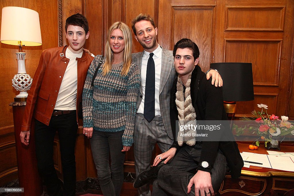 Harry Brant, Nicky Hilton, Derek Blasberg and Peter Brant II attend Derek Blasberg For Opening Ceremony Stationery Launch Party at Saint Regis Hotel on December 18, 2012 in New York City.