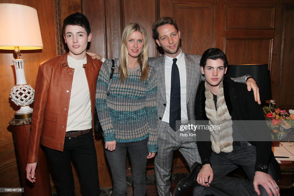 Harry Brant, Nicky Hilton, <a gi-track='captionPersonalityLinkClicked' href=/galleries/search?phrase=Derek+Blasberg&family=editorial&specificpeople=856710 ng-click='$event.stopPropagation()'>Derek Blasberg</a> and Peter Brant Jr. attend the <a gi-track='captionPersonalityLinkClicked' href=/galleries/search?phrase=Derek+Blasberg&family=editorial&specificpeople=856710 ng-click='$event.stopPropagation()'>Derek Blasberg</a> for Opening Ceremony Stationery launch party at the Saint Regis Hotel on December 18, 2012 in New York City.
