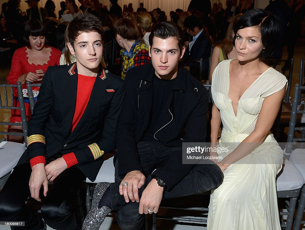 Harry Brant, Peter Brandt Jr. and <a gi-track='captionPersonalityLinkClicked' href=/galleries/search?phrase=Leigh+Lezark&family=editorial&specificpeople=618872 ng-click='$event.stopPropagation()'>Leigh Lezark</a> attendsthe Zac Posen fashion show during Mercedes-Benz Fashion Week Spring 2014 at Center 548 on September 8, 2013 in New York City.