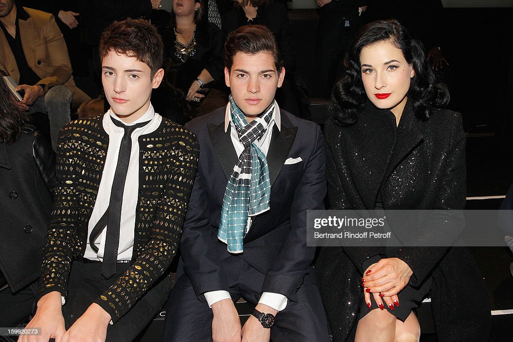 Harry Brant, Peter Brant Jr and <a gi-track='captionPersonalityLinkClicked' href=/galleries/search?phrase=Dita+Von+Teese&family=editorial&specificpeople=210578 ng-click='$event.stopPropagation()'>Dita Von Teese</a> attend the Elie Saab Spring/Summer 2013 Haute-Couture show as part of Paris Fashion Week at Pavillon Cambon Capucines on January 23, 2013 in Paris, France.