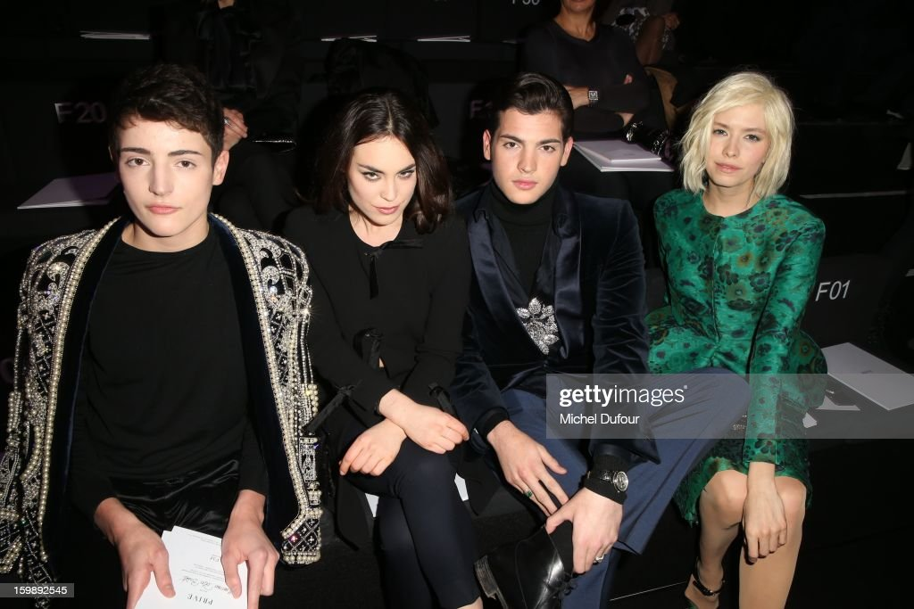 Harry Brant, Tallulah Harlech, Peter Brant junior and Elena Perminova attend the Giorgio Armani Prive Spring/Summer 2013 Haute-Couture show as part of Paris Fashion Week at Theatre National de Chaillot on January 22, 2013 in Paris, France.
