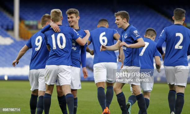Harry Charsley celebrates his goal with team mate Ryan Ledson during the Everton under 21's match against at Goodison Park