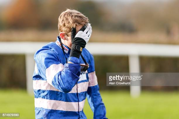 Harry Cobden after falling from Darling Maltaix at the last in The Reliable British Scaffolding Maiden Hurdle Race at Taunton racecourse on November...