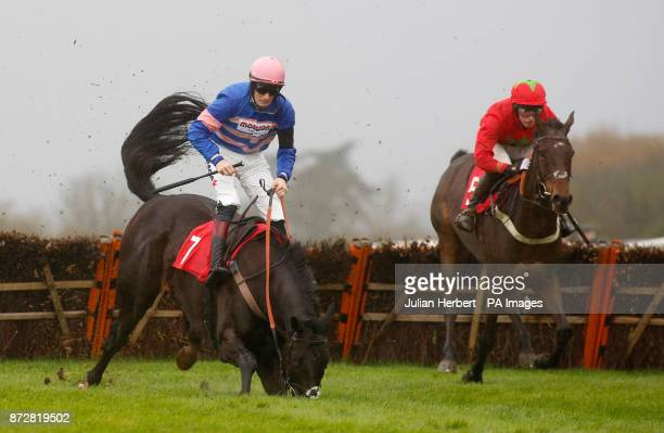 Harry Cobden and Kilbricken Storm pass the falling Mont Des Avaloirs ridden by Sam TwistonDavies at the last flight before going on to win The EBF...